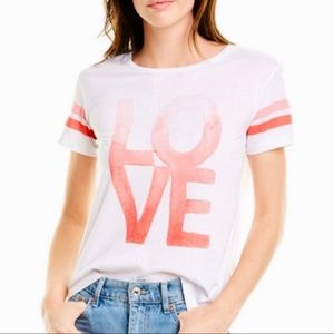 NWT Chaser Love Graphic Tee Pink Stripe Sleeve Sm